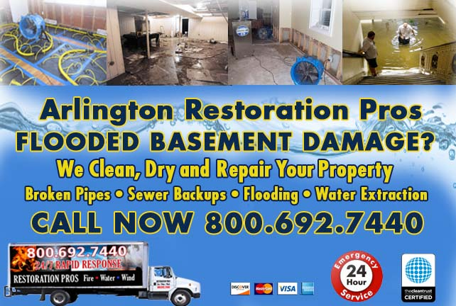 Arlington flooded basement cleanup