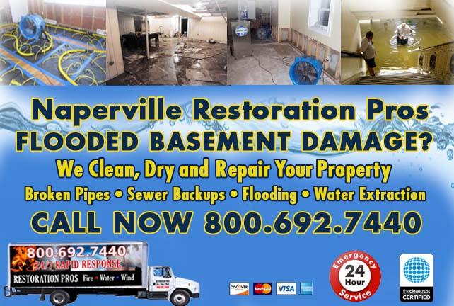 Naperville flooded basement cleanup