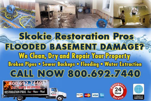 Skokie flooded basement cleanup
