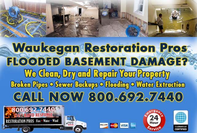 Waukegan flooded basement cleanup